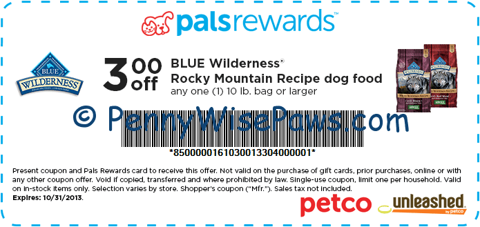 Printable coupons for blue buffalo puppy food