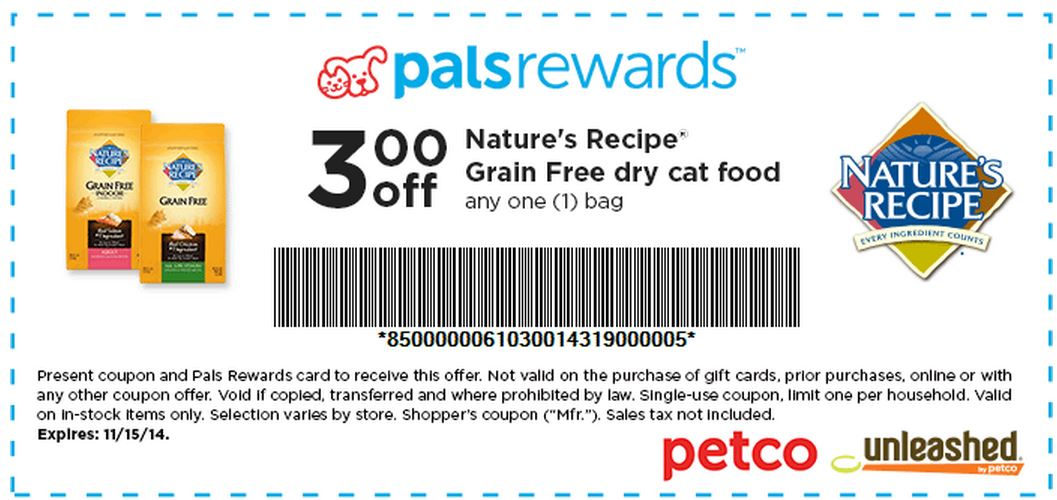 image relating to Tidy Cat Printable 3.00 Coupon named Petco: 3/1 Natures Recipe Grain Totally free cat foodstuff Printable