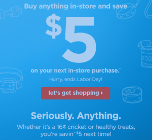 Petco buy anything get $5 off 25