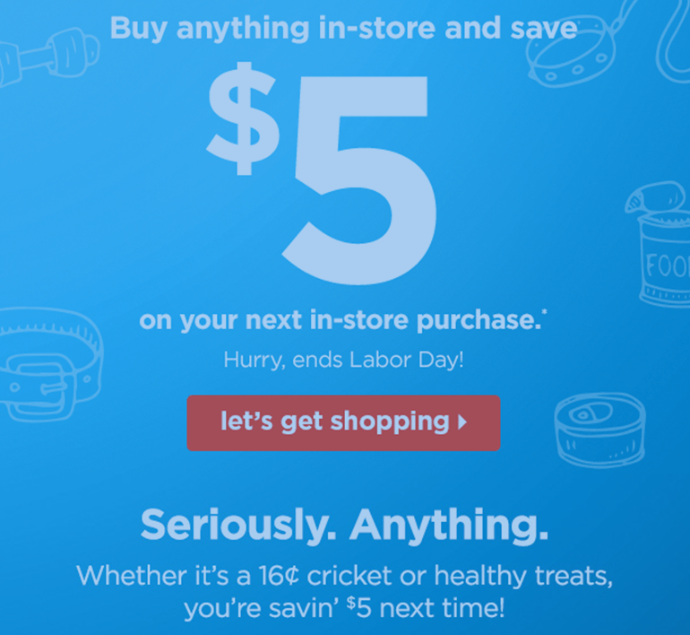 Petco Through 9 5 16 Buy Anything In Store Get A 5 Off 25 Coupon