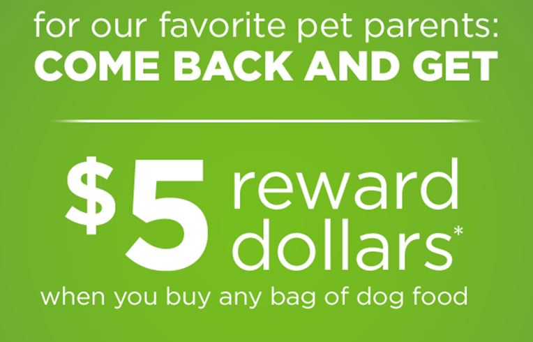Petco: $5 in Pals rewards wyb dog food plus $10 off 65 and